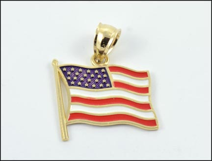 Enameled Flag Pendant in Yellow Gold LARGE