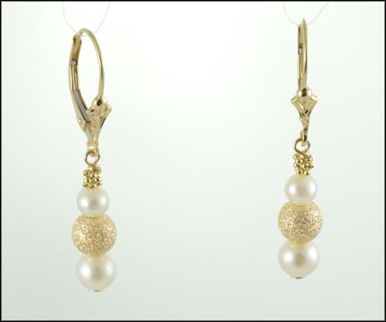 Pearl and Gold Ball Earrings in 14K Yellow Gold LARGE