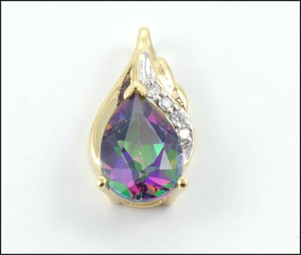 Mystic Topaz Pendant in 10K Yellow Gold LARGE