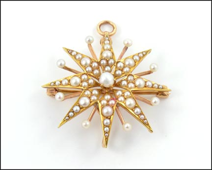 1890's Pearl Starburst Brooch or Pendant in 14K Yellow Gold LARGE