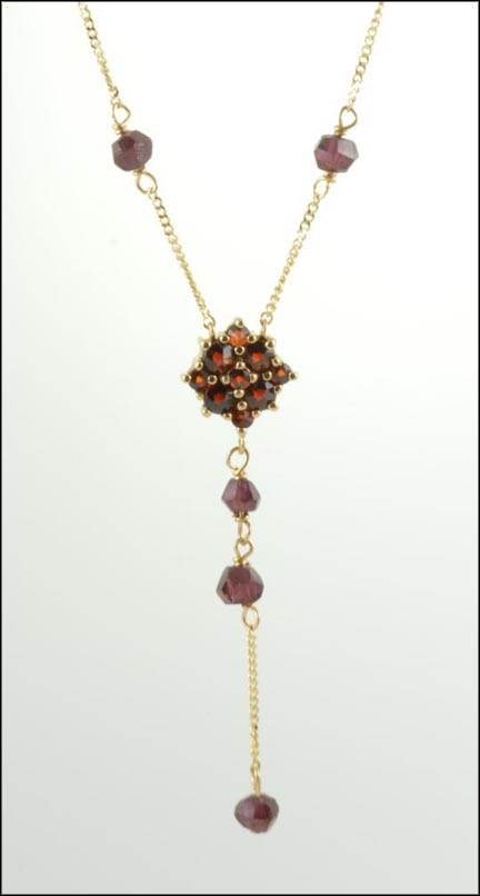 Garnet Necklace in 10K Yellow Gold LARGE