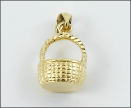 Nantucket Basket Pendant in 14K Yellow Gold LARGE