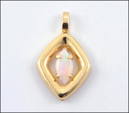 Opal Pendant in 14K Yellow Gold LARGE