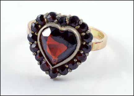 Ring with Sterling Garnet Top in 14K Yellow Gold LARGE