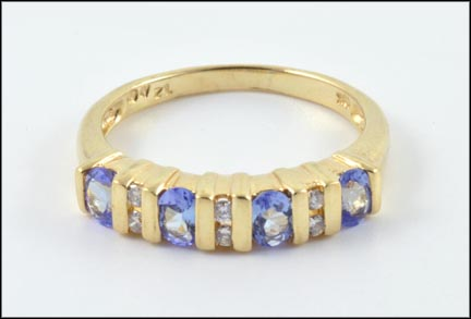 Tanzanite and Diamond Band in 10K Yellow Gold LARGE