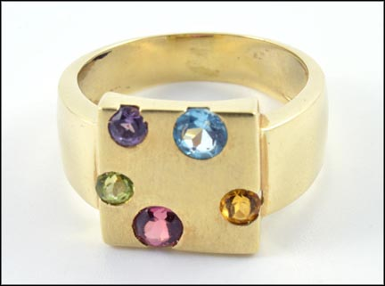 Multi Stone Ring in 14K Yellow Gold LARGE