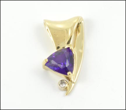 Trillion Cut Amethyst Pendant in 14K Yellow Gold LARGE