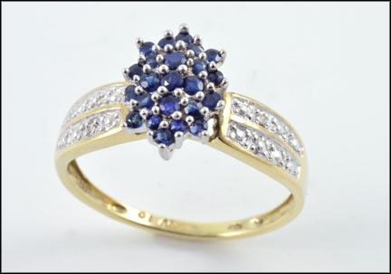 Sapphire Cluster Ring in 10K Yellow Gold LARGE