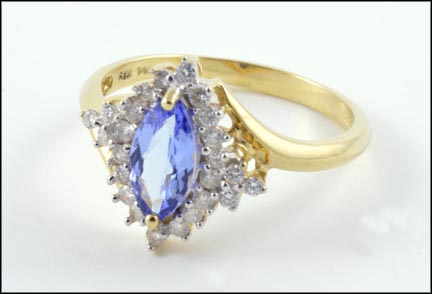 Tanzanite and Diamond Ring in 14K Yellow Gold LARGE