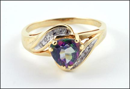 Mystic Topaz Ring in 10K Yellow Gold LARGE