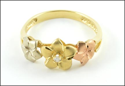 Tri-Color Plumeria Ring in 14K Tri-Color Gold LARGE