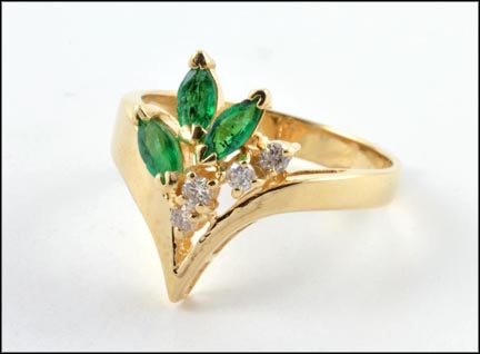 Emerald and Diamond 'V' Ring in 14K Yellow Gold LARGE