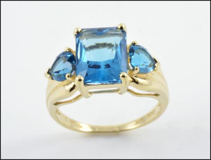 London Blue Topaz Ring in 14K Yellow Gold LARGE