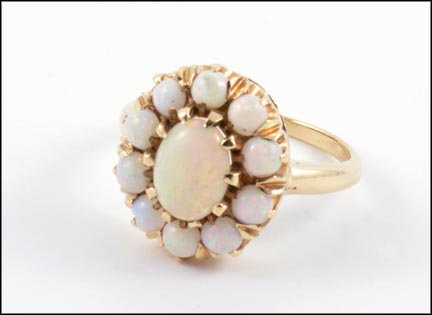 Opal Cluster Ring in 14K Yellow Gold LARGE