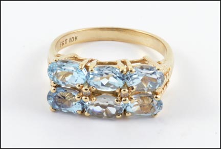 Blue Topaz Ring in 10K Yellow Gold LARGE