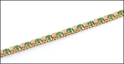 Emerald and Diamond Bracelet in 10K Yellow Gold_LARGE
