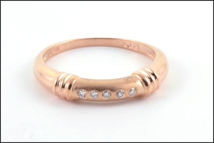 Diamond Band in 14K Rose Gold LARGE