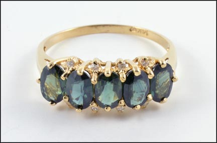 Green Sapphire Ring in 14K Yellow Gold LARGE