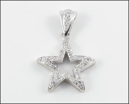 Diamond Star Pendant in 18K White Gold LARGE