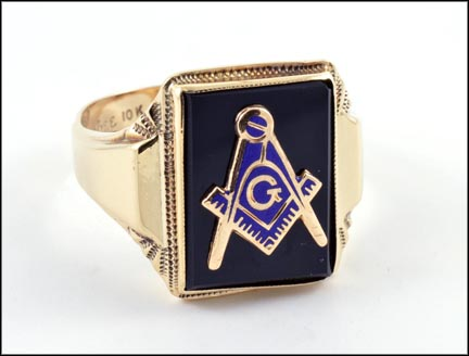 Masonic Blue Lodge Ring in 10K Yellow Gold LARGE