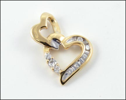 Diamond Double Heart Pendant in 14K Yellow Gold_LARGE