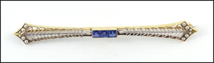 Montana Sapphire Bar Pin in 14K Two-Tone Gold_LARGE