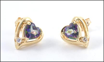 Mystic Topaz Heart Earrings in 10K Yellow Gold LARGE