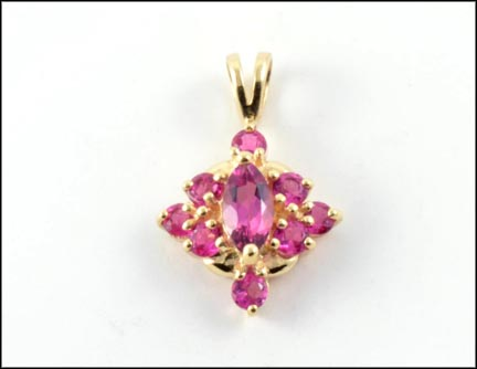Pink Topaz Cluster Pendant in 14K Yellow Gold LARGE