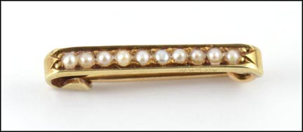 Pearl Pin 1920-30 in 14K Yellow Gold LARGE