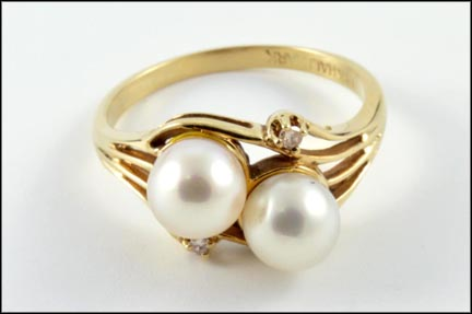 Pearl Ring with Diamond Accent in 14K Yellow Gold LARGE