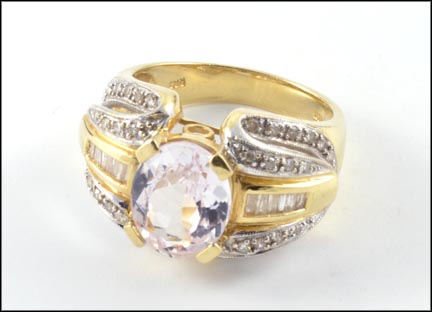 Morganite and Diamond Ring in 14K Yellow Gold LARGE