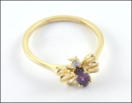 Garnet Butterfly Ring in 10K Yellow Gold LARGE
