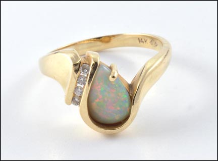 Opal Ring with Diamond Accent in 14K Yellow Gold LARGE