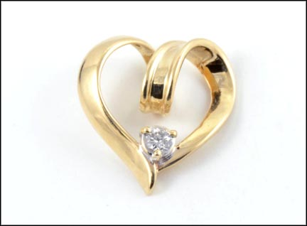 Heart Slide with Diamond in 14K Yellow Gold LARGE