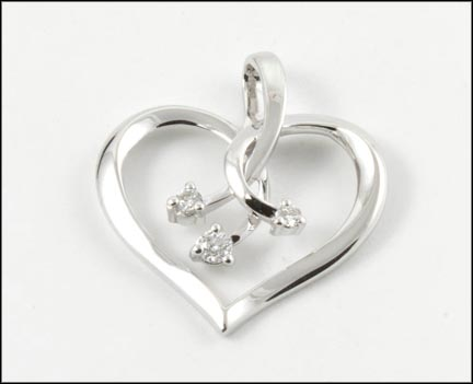 Diamond Heart Pendant in 10K White Gold LARGE