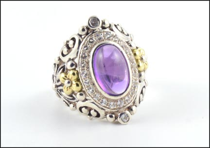 Cabochon Amethyst Ring in Sterling Silver and 14K Yellow Gold LARGE