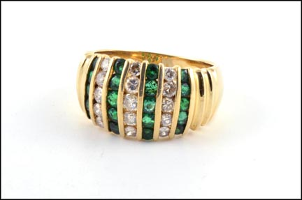 Emerald and Diamond Band in 14K Yellow Gold LARGE