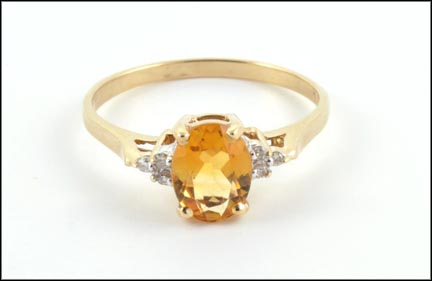 Citrine and Diamond Ring in 10K Yellow Gold LARGE