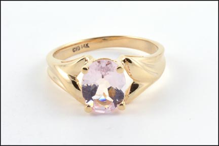 Morganite Ring in 14K Yellow Gold LARGE