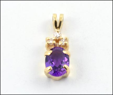 Amethyst and Diamond Pendant in Yellow Gold LARGE
