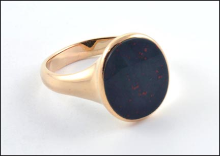 Bloodstone Ring in Yellow Gold LARGE