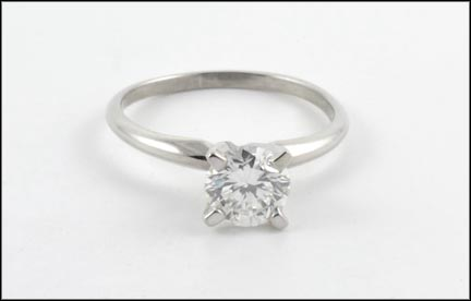 Diamond Solitaire Ring in 14K White Gold LARGE