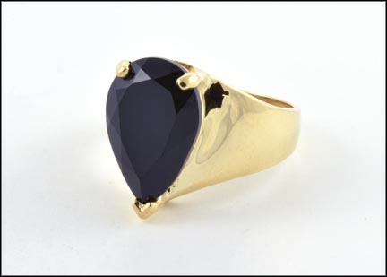 Faceted Onyx Ring in 10K Yellow Gold LARGE