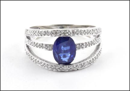 Iolite and Diamond Ring in 14K White Gold LARGE