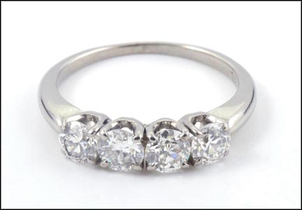 4 Stone Diamond Ring in 18K White Gold LARGE