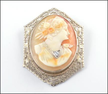 Filigree Frame Cameo Pin or Pendant in 10K White Gold LARGE