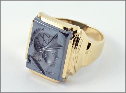 Hematite 1940's Intaglio Ring in 10K Yellow Gold LARGE