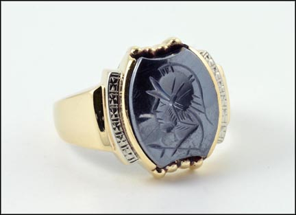 Hematite Intaglio Men's Ring in 10K Two-Tone Gold LARGE