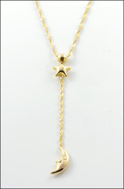 Diamond Cut Twist Necklace with Star & Moon in 14K Yellow Gold_LARGE