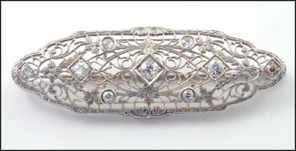 Diamond Filigree Pin, 1915-20 in White Gold_LARGE